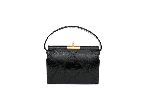 Milky Patchwork Black Croc-Embossed Leather Bag - gu_de