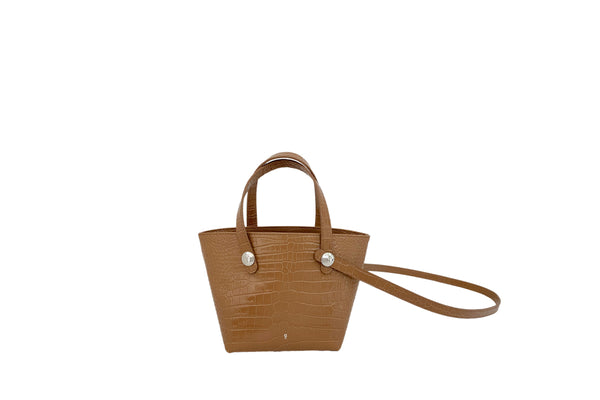 Poky Beige Croc-Embossed Leather Bag - Webshop Exclusive