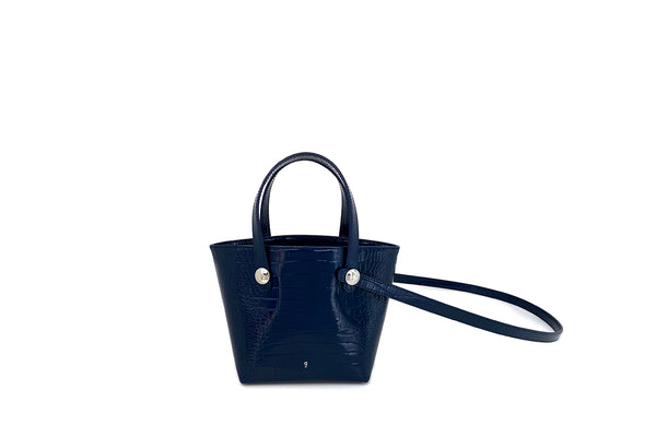 Poky Navy Croc-Embossed Leather Bag - Webshop Exclusive