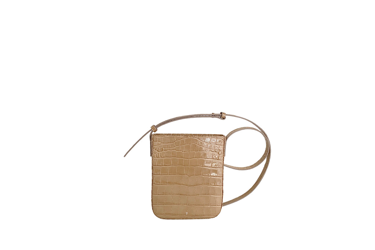 Pony L-Beige Croc-Embossed Leather Bag - Webshop Exclusive
