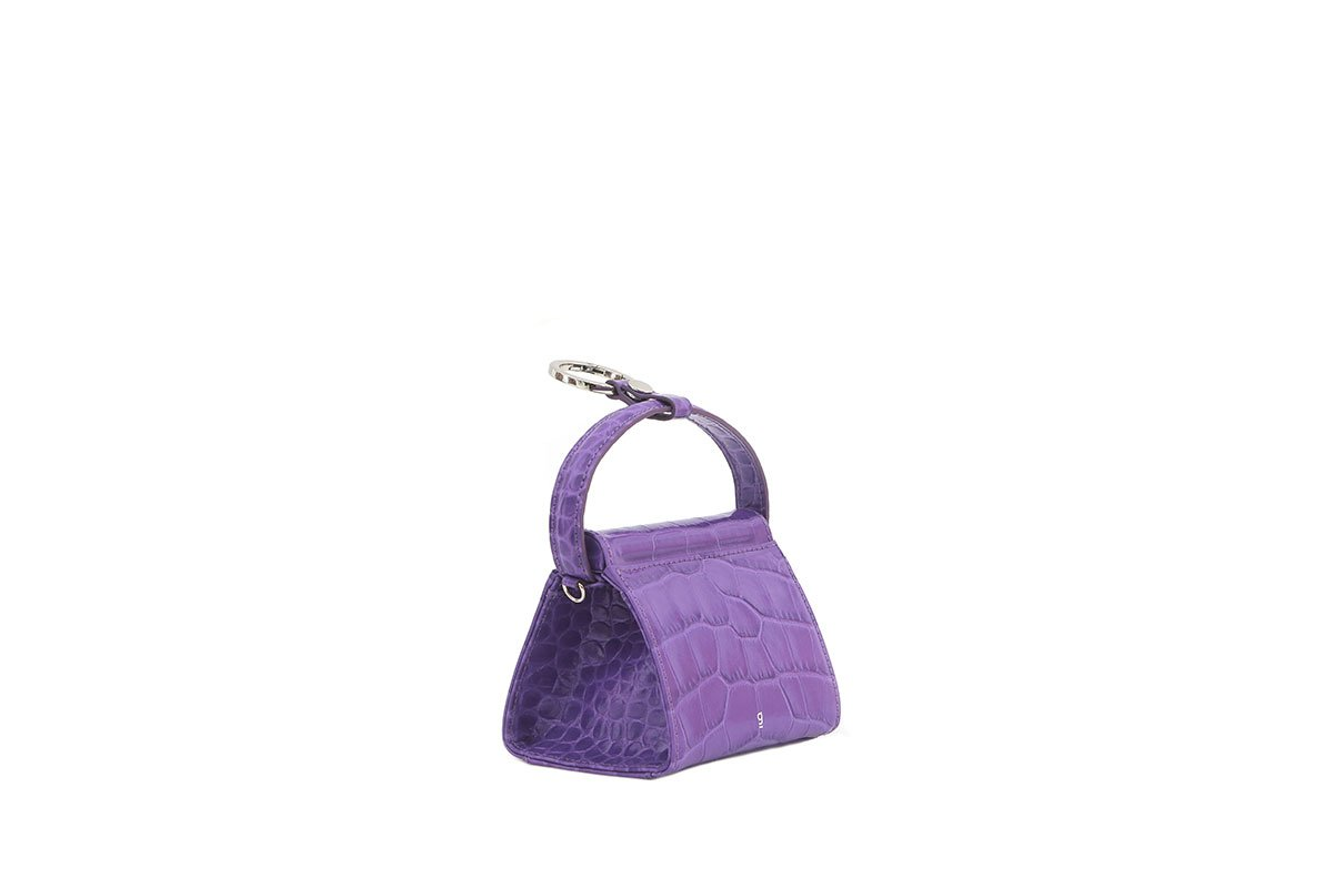 Mini Play Purple Croc-Embossed Leather Bag