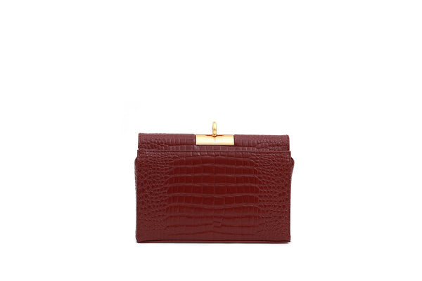 Luxy Raspberry Croc-Embossed Leather Bag with 24K Satin Gold Hardware