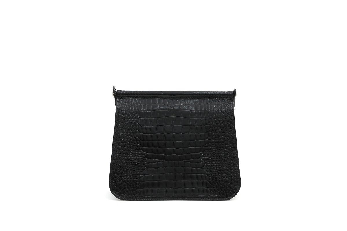 Pre-Order Rosy Black Croc-Embossed Leather Bag - gu_de
