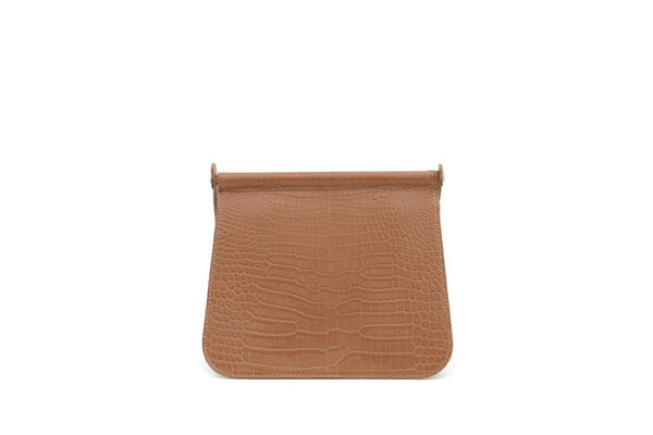 Pre-Order Rosy Beige Croc-Embossed Leather Bag
