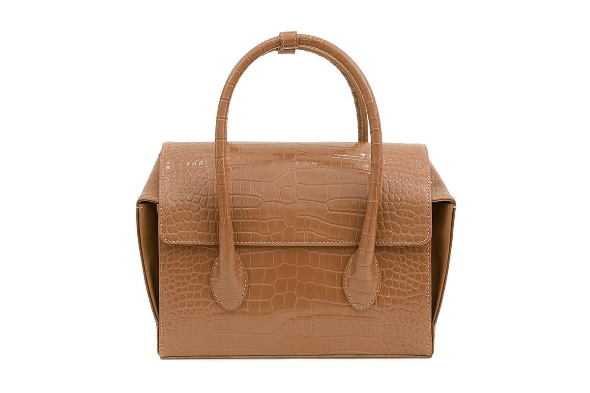Pre-Order Sally Beige Croc-Embossed Leather Bag