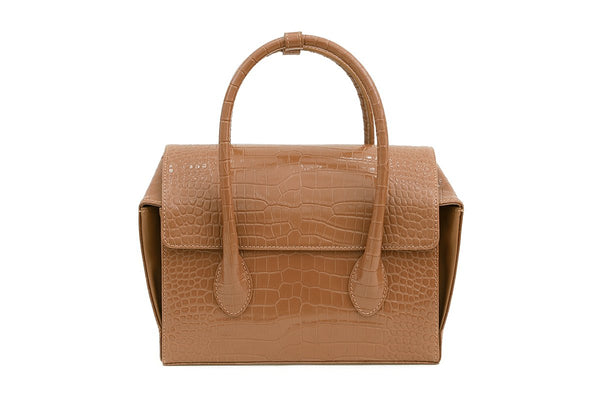 Pre-Order Sally Beige Croc-Embossed Leather Bag - gu_de