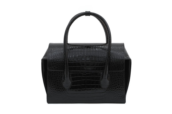 Pre-Order Sally Black Croc-Embossed Leather Bag