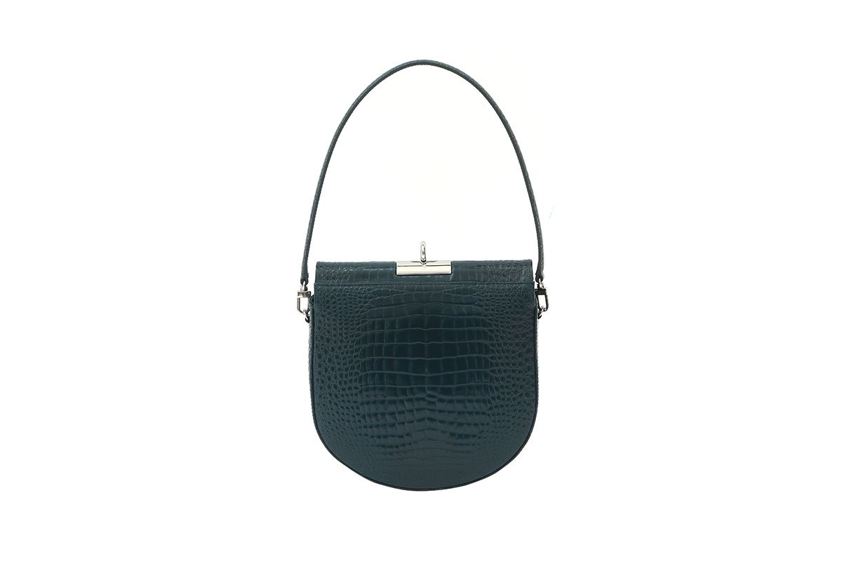 Demilune T-Blue Croc-Embossed Leather Bag