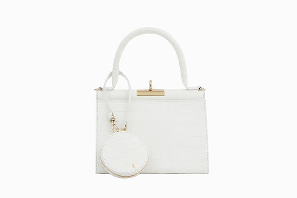 Play White Croc-Embossed Leather Bag