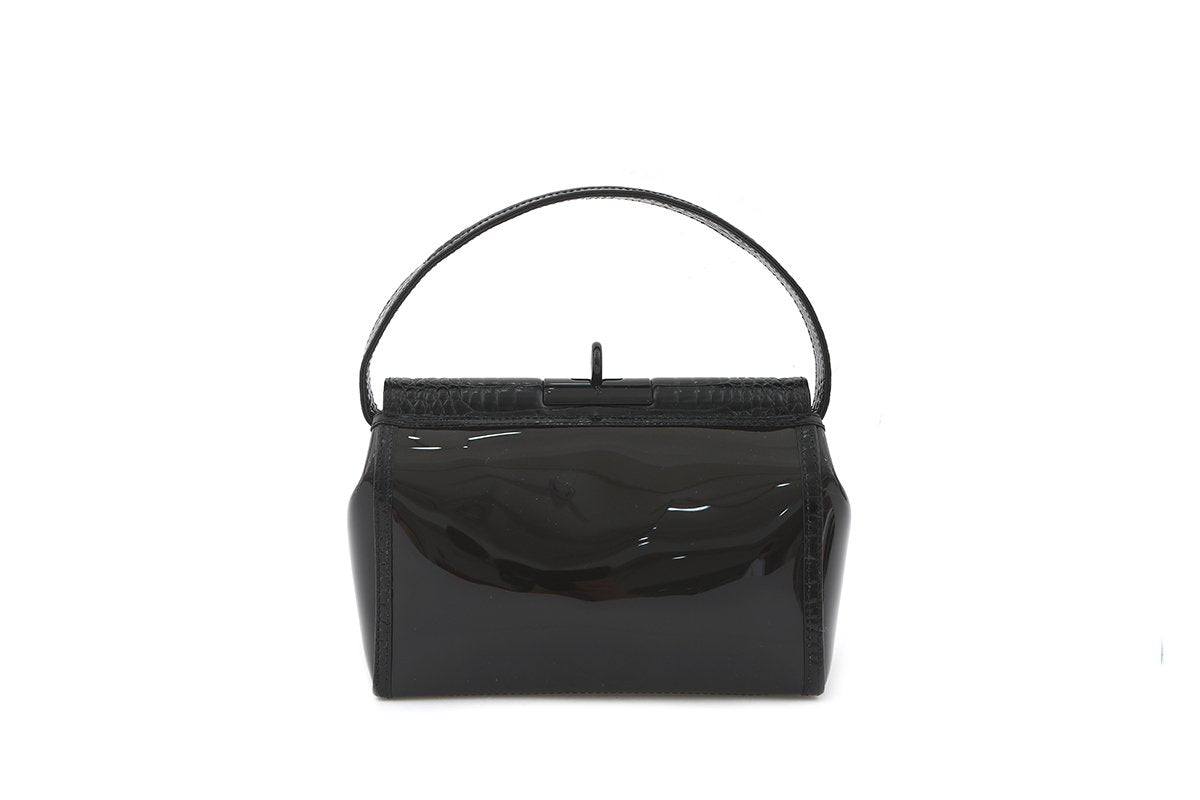 Limited Edition Water Z-Black Croc-Embossed Leather Trimmed PVC Bag - gu_de
