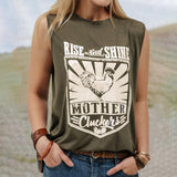Vieley Round Neck Sleeveless T-shirts Rooster Letter Print