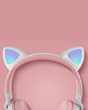 Vieley Adult and Children Flash Luminous Headphones Bluetooth Cute Cat Headphones