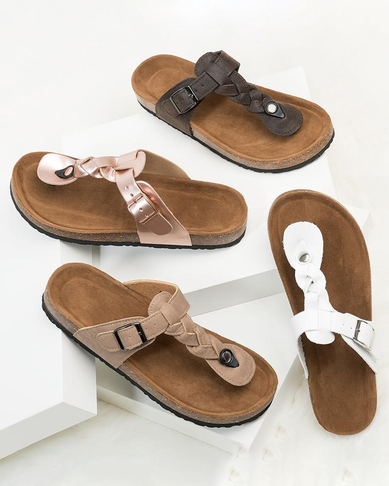 Vieley Adjustable T-Strap Slides Cork Sandals