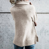 Casual Turtleneck Long Sleeve Soft Knitted Sweater Pullover