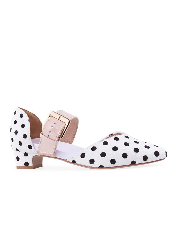 Vieley Point Toe Oversized Buckle Strap Basic Low Heel Print Pumps