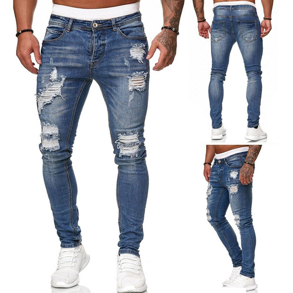 Vieley Mens Distressed Jeans Straight Ripped Hole Denim Trousers