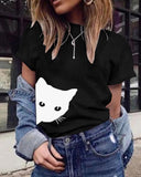 Vieley Womens Cute Cat Print Casual T-Shirts Tops