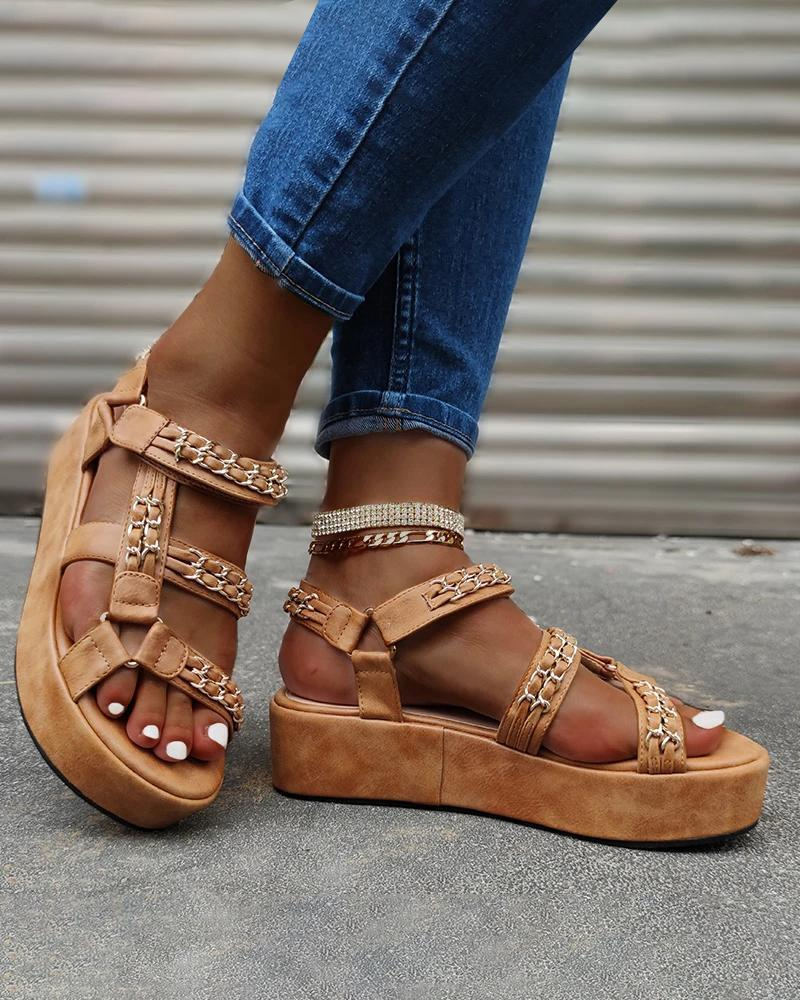 Vieley Sleek Studded Open Toe Adjusting Buckle Ankle Strap Sandals