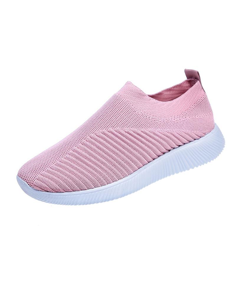 Vieley Mesh Breathable Laceless Hollow-out Slip-on Solid Color Sneakers