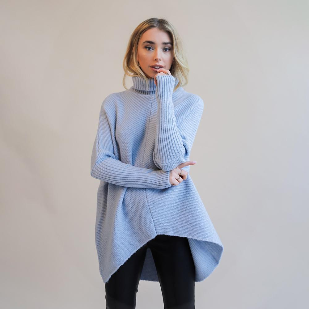 Turtleneck Ribbed Knit Pullover Sweaters