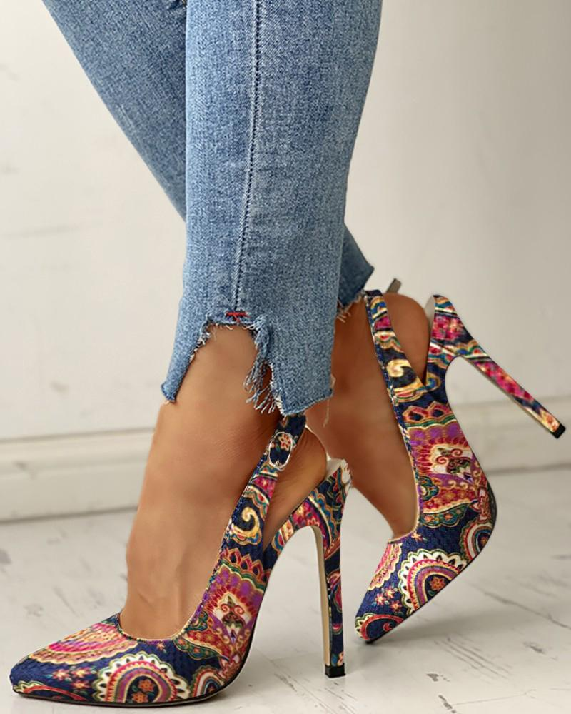 Vieley Colorful Snakeskin Slingback High Heeled Sandals