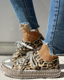 Vieley Leopard Print Rivet Embellished Canvas Low Top Closed Round Toe Lace Up Sneakers