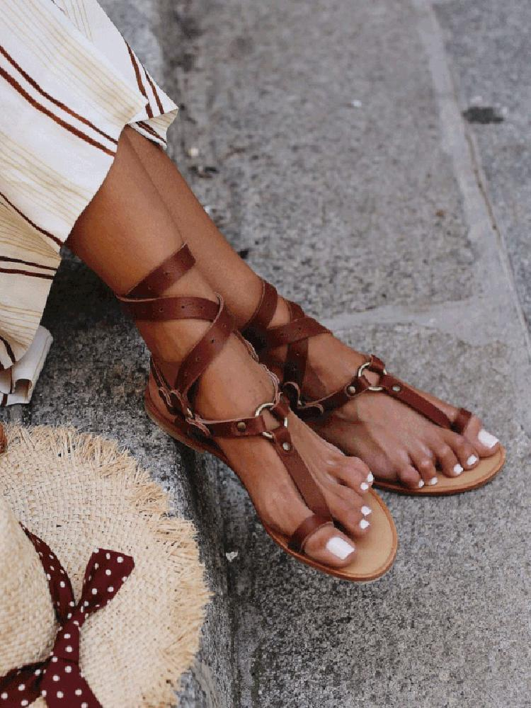 Vieley Flat Ankle Lace Up Open Toe Gladiator Sandals