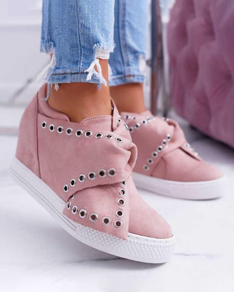 Vieley Round Toe Faux Suede Wedge Heel Casual Tie Knot Sneakers