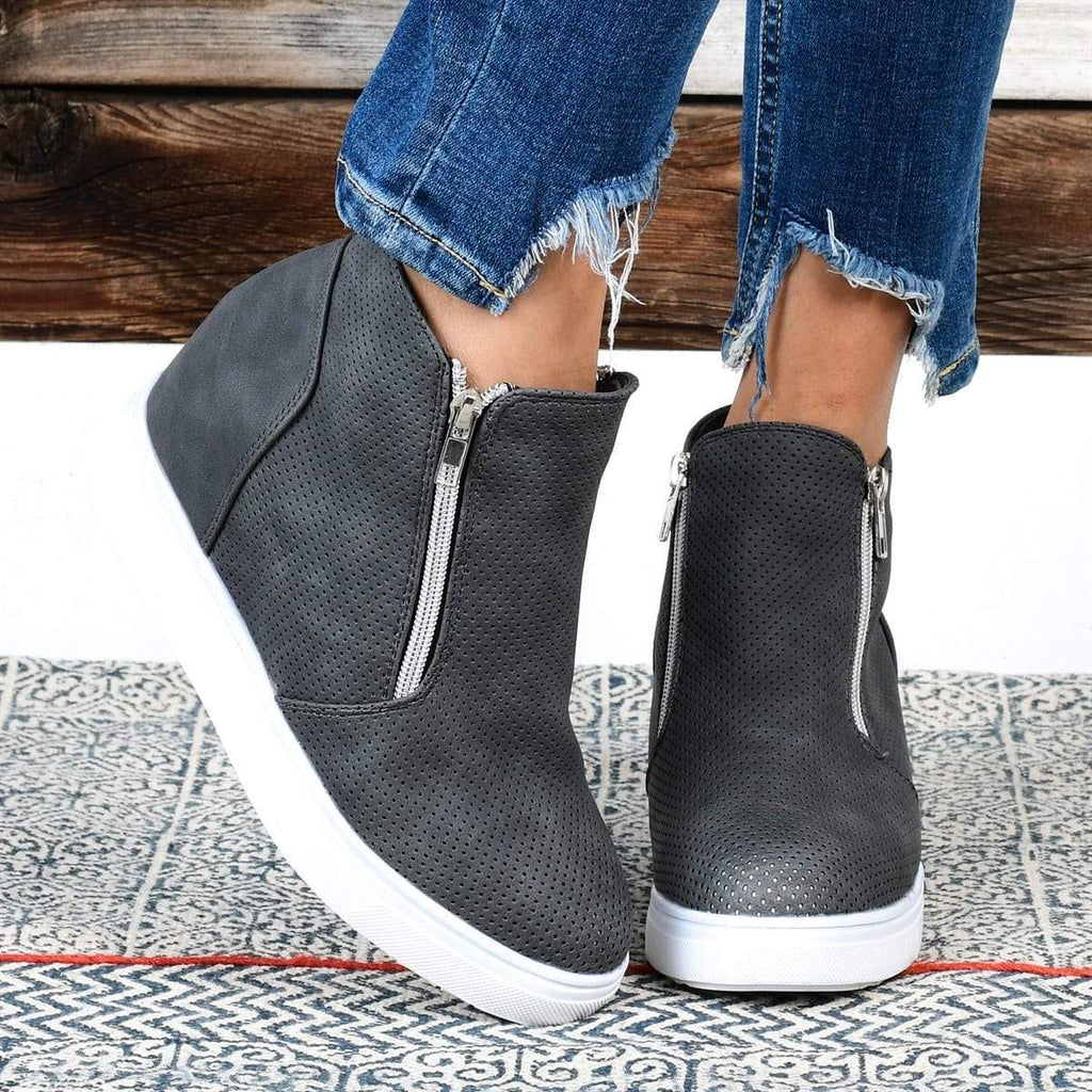 Vieley Perforated Platform Wedge Sneakers