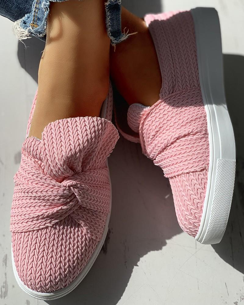 Vieley Breathable Flats Bowknot Casual Loafers