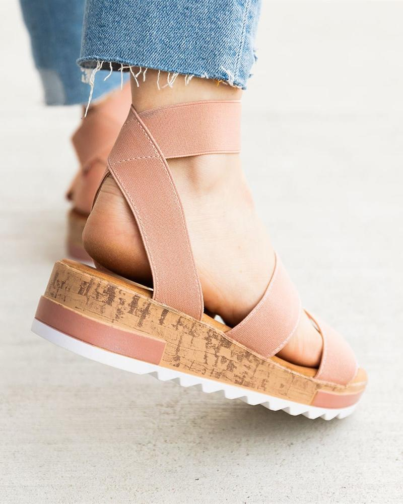 Vieley Casual Open Toe Ankle Strap Slingback Slide On Sandals
