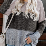 Color Block Oversized Crewneck Sweaters Striped Loose Pullover
