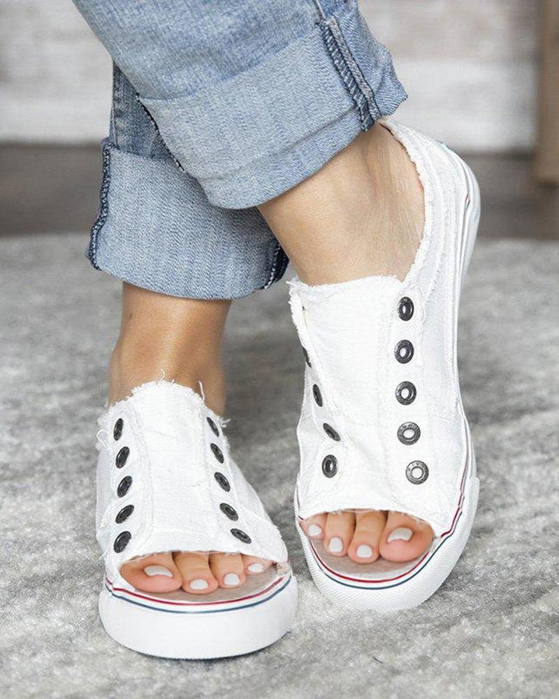 Vieley Peep Open Toe Laceless Frayed Sneakers