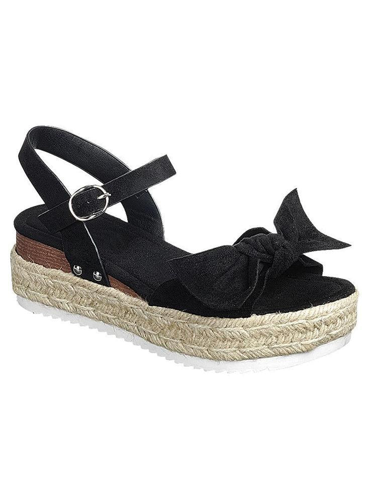 Vieley Platform Ankle Strap Buckle Bowties Sandals