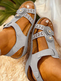 Vieley Pearl Emblished Flower Hollow Out Open Toe Slingback Velcro Sandals