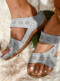 Vieley Hollow Out Flower Cut-out Comfy Slides Emblished Open Toe Slingback Sandals