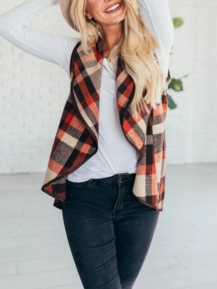 Vieley Sleeveless Vest Plaid Draped Open Front Hem Cardigan Coat