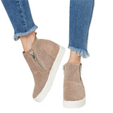 Womens Perforated Hidden Wedge Sneakers