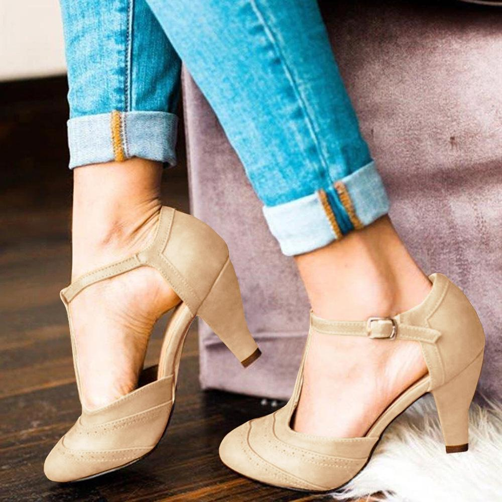 Vieley Almond Toe T-Strap Heeled Pumps