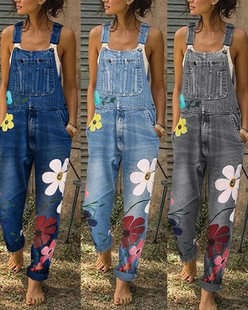 Vieley Womens Floral Denim Jumpsuits Fashion Loose Bib Pants