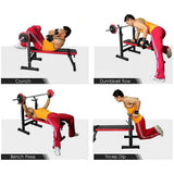 Vieley Foldable Weight Bench Barbell Lifting Sit up Dip Station Workout Equipment