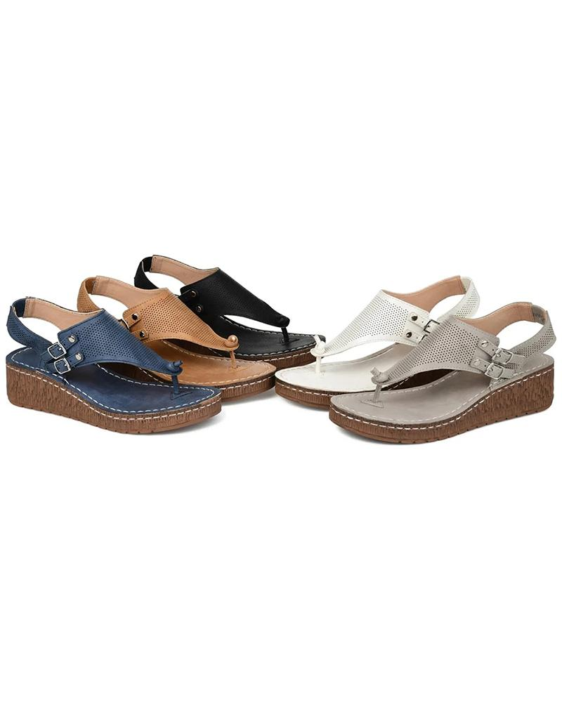 Vieley Women's Perforated Toe Straps Buckle Sandal Flip-flops