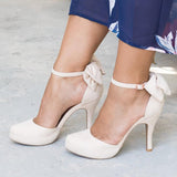 Vieley High Heels Ankle Buckle Bowtie Wedding Pumps