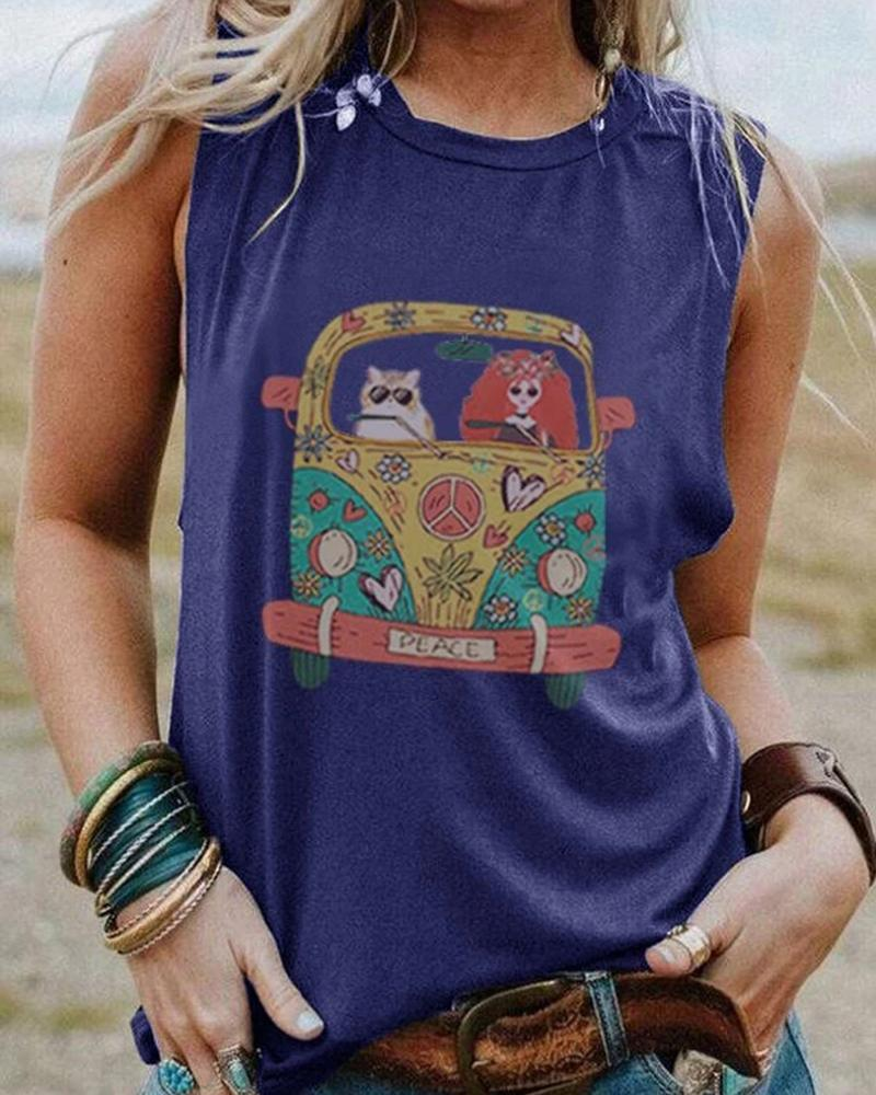 Vieley Round Neck Summer Sleeveless Shirts Cartoon Bus Print Oversize Vest