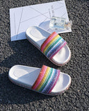 Vieley Rainbow Colorful Sequin  Shinny Beach Slides