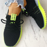 Vieley Colorblock Knitted Breathable Lace-Up Sneakers
