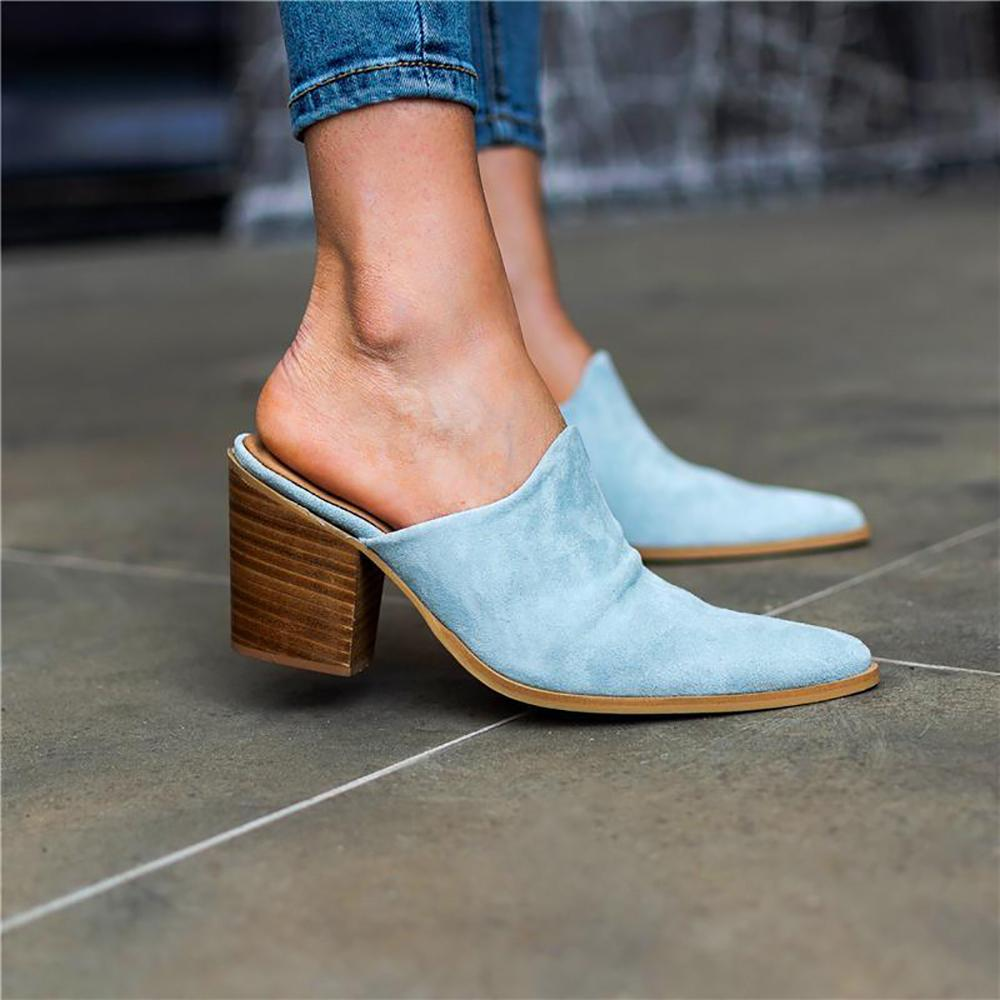 Vieley Pointed Toe Mules Stacked Chunky Block Heel Sandals