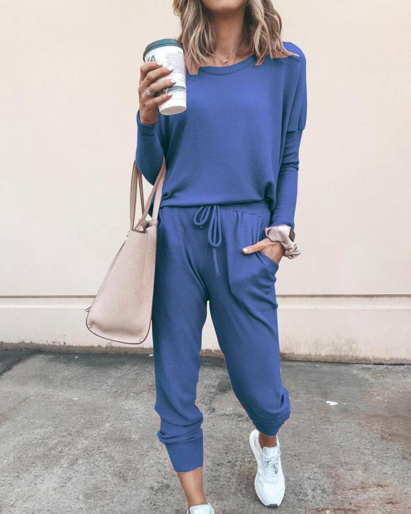 Vieley Women Solid Color Long Sleeve Blouse Top Drawstring Pants Sport Tracksuit