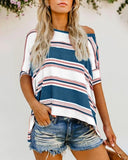 Vieley Striped Stitiching Color Crewneck Short Sleeve T-Shirt Casual Loose Knit Tops