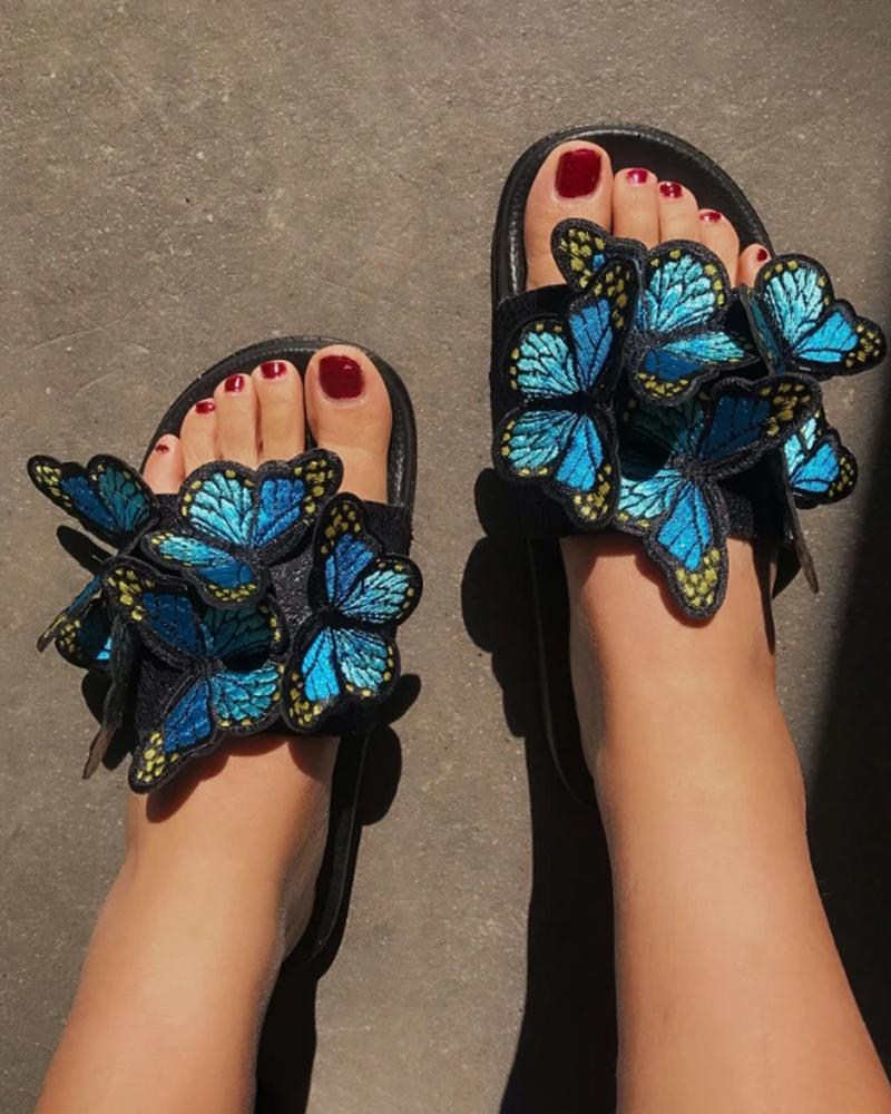 Vieley Knitting Butterfly Fashion Beach Slides